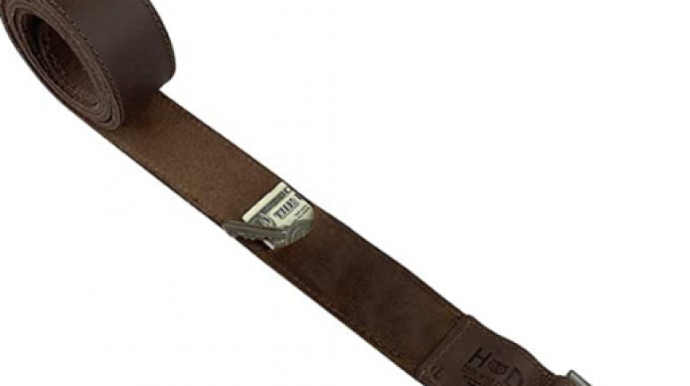 Thick Leather Belt With Hidden Pocket
